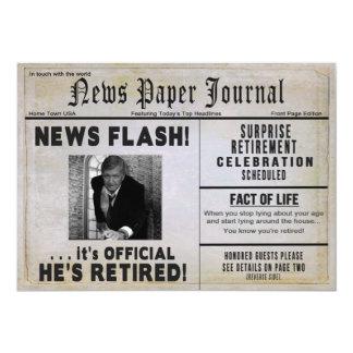 HE'S RETIRED Invitation - PHOTO INSERT/ News