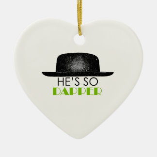 He's so dapper Double-Sided heart ceramic christmas ornament
