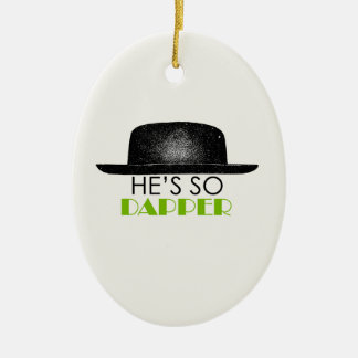 He's so dapper Double-Sided oval ceramic christmas ornament