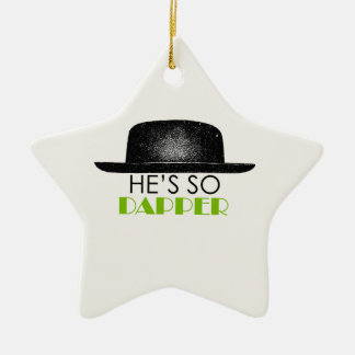 He's so dapper Double-Sided star ceramic christmas ornament