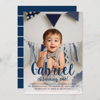 He's Turning One Navy Boy's First Birthday Photo Invitation