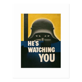 He's Watching You - Vintage WWII Postcard