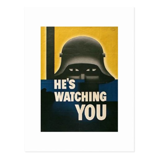 He's Watching You - Vintage WWII Postcards