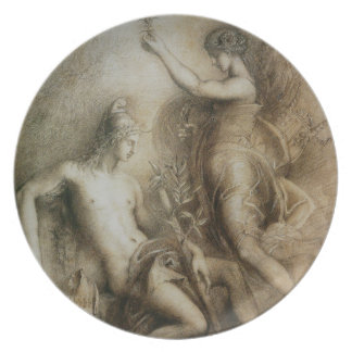 Hesiod and Muse by Gustave Moreau, 1857 Party Plate