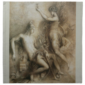 Hesiod and Muse by Gustave Moreau Cloth Napkins