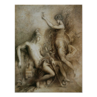 Hesiod and Muse by Gustave Moreau Poster
