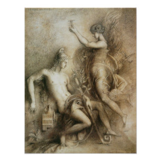Hesiod and the Muse by Gustave Moreau Photographic Print