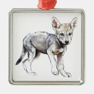 Hesitating Arabian Wolf Pup 2009 Metal Ornament