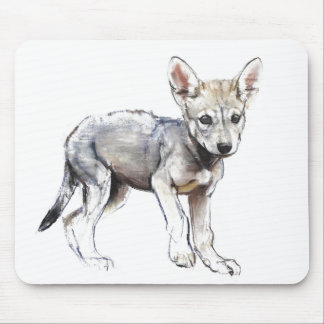 Hesitating Arabian Wolf Pup 2009 Mouse Pad