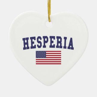 Hesperia US Flag Ceramic Ornament
