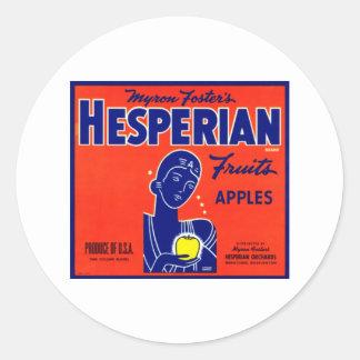 Hesperian Fruits Apples Classic Round Sticker
