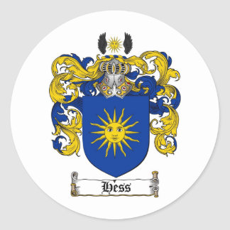 HESS FAMILY CREST -  HESS COAT OF ARMS CLASSIC ROUND STICKER