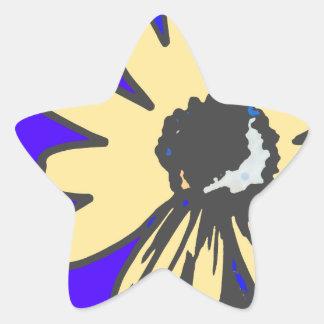HEVi Fineart de la margarita de la MOD, azul   y Pegatina En Forma De Estrella