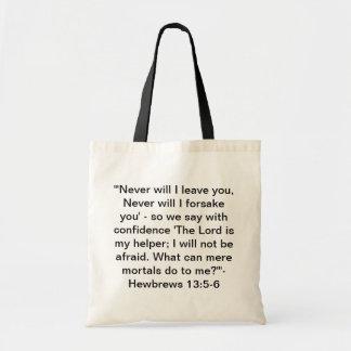 Hewbrews 13:5-6 tote bag