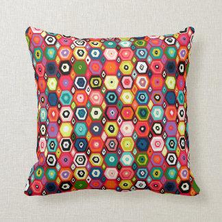 hex diamond red throw pillow