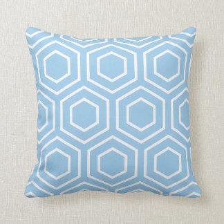 Hex Pattern Geometric Pillow in Sky Blue