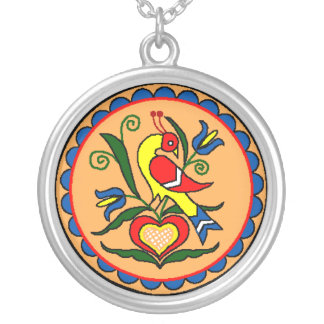 Hex Sign Dutch Bird Round Pendant Necklace