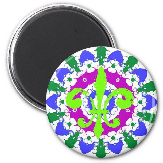 Hex Sign Green Fleur De Lis Magnet