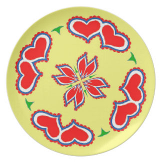 Hex Sign Hearts Dinner Plates