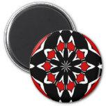 Hex Sign Red Black 2 Inch Round Magnet