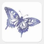 Hex Tiles Mosaic Butterfly in Blue Sticker