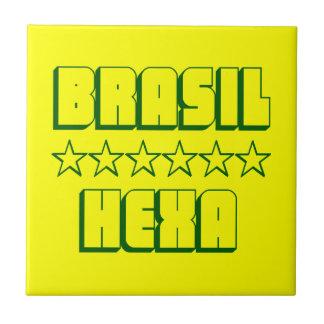 Hexa Brazil Champion Soccer Stars Small Square Tile