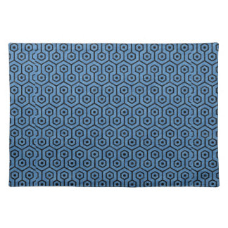 HEXAGON1 BLACK MARBLE & BLUE COLORED PENCIL (R) CLOTH PLACEMAT