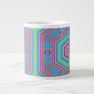 Hexagon abstract pattern 20 oz large ceramic coffee mug