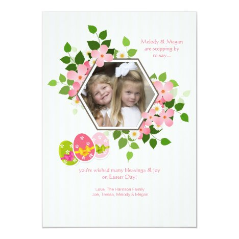 Hexagon Floral Photo Easter Card