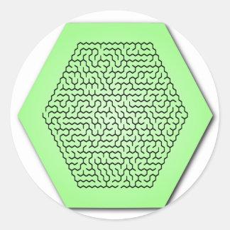Hexagon Maze Round Sticker
