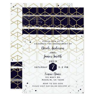 Hexagon Modern Navy Blue Gold Geometric Engagement Card