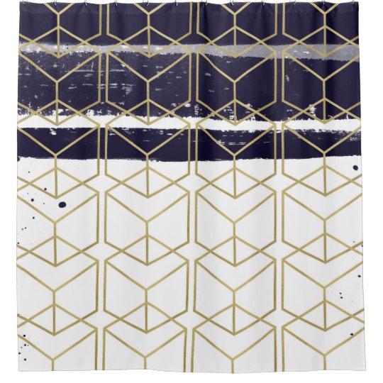 Hexagon Modern Navy Blue Gold Geometric Glam Shower Curtain
