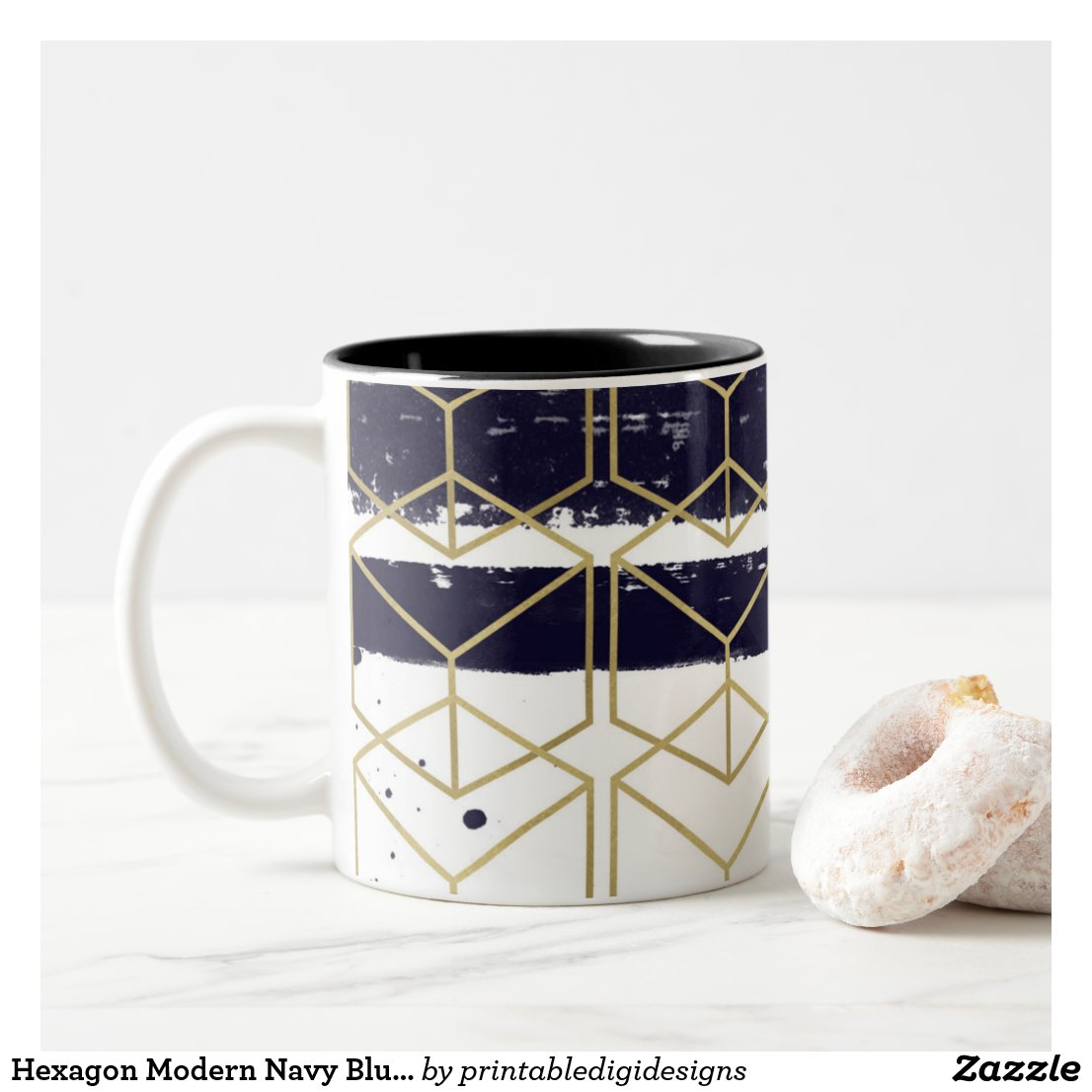 Hexagon Modern Navy Blue Gold Geometric Glam Two-Tone Coffee Mug