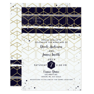 Hexagon Modern Navy Blue Gold Geometric Wedding Card