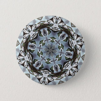 Hexagon Of Jungle Leaves and Tropical Flowers Pinback Button