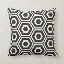 Hexagon Pattern Black on Ivory Throw Pillow