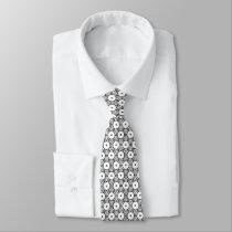 hexagon pattern graphic design black and white neck tie