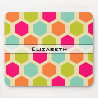 Hexagon Pattern in Vintage Colors Personalized Mouse Pad