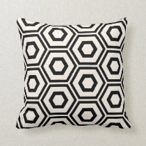 Hexagon Pattern Ivory on Black Throw Pillow