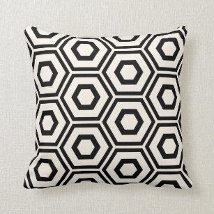 Black Hexagon Outdoor Throw Pillows Rectangle Set of 2