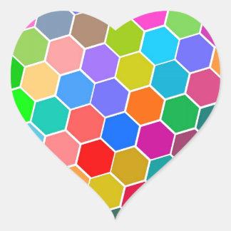 Hexagon Pebbles Heart Sticker