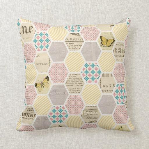 Hexagon Quilt Style Newsprint Pattern Pillows Zazzle