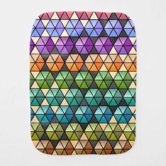 Hexagon Quilt - Warm Rainbow Baby Burp Cloth