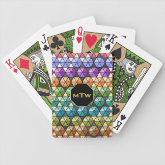 Hexagon Quilt Warm Rainbow - Monogrammed Bicycle Playing Cards