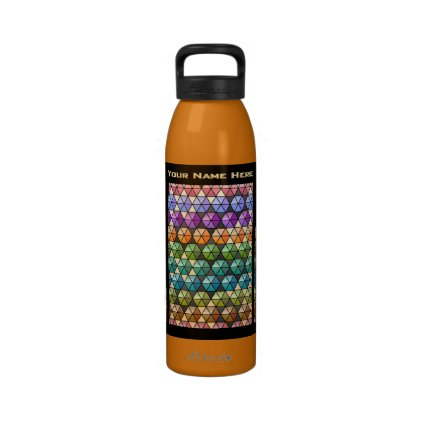 Hexagon Quilt Warm Rainbow - Personalized Water Bottles