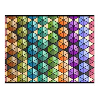 Hexagon Quilt (Warm Rainbow) Postcard