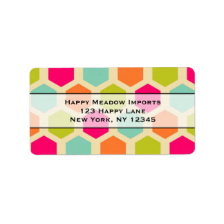 Hexagon Shapes in Vintage Colors Pattern Address Label