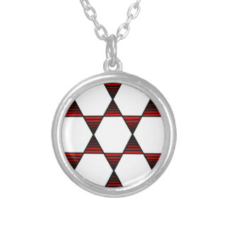 Hexagon Star Red Round Pendant Necklace