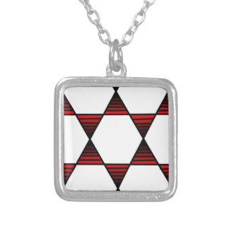 Hexagon Star Red Square Pendant Necklace