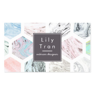 Hexagon Watercolor Marble Business Card